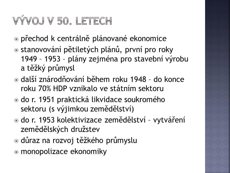 Vývoj v 50. letech přechod k centrálně plánované ekonomice