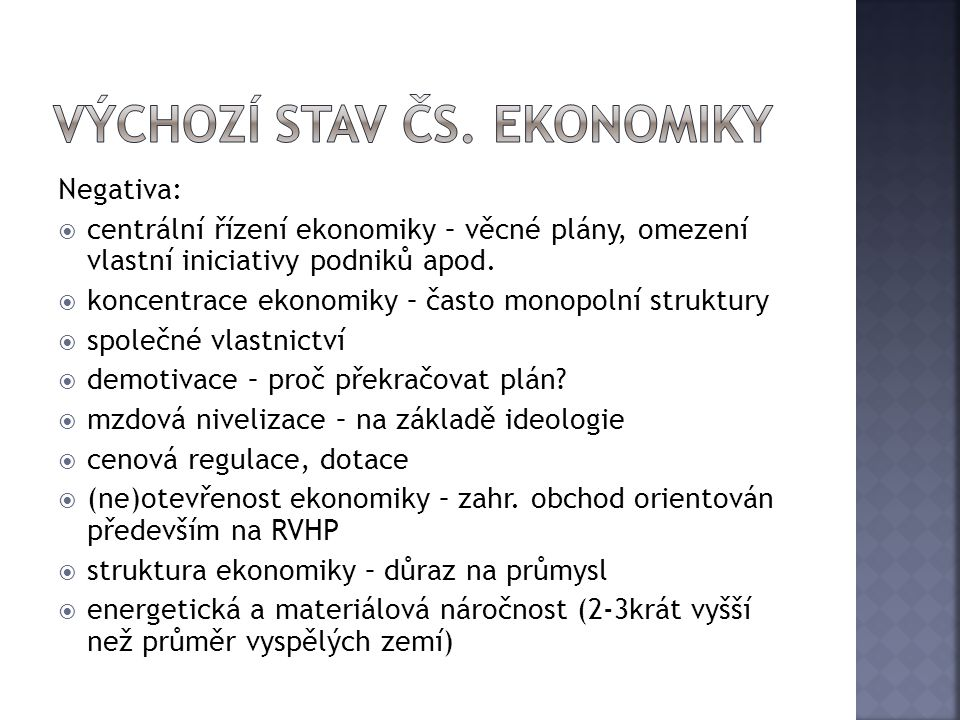 výchozí stav čs. ekonomiky