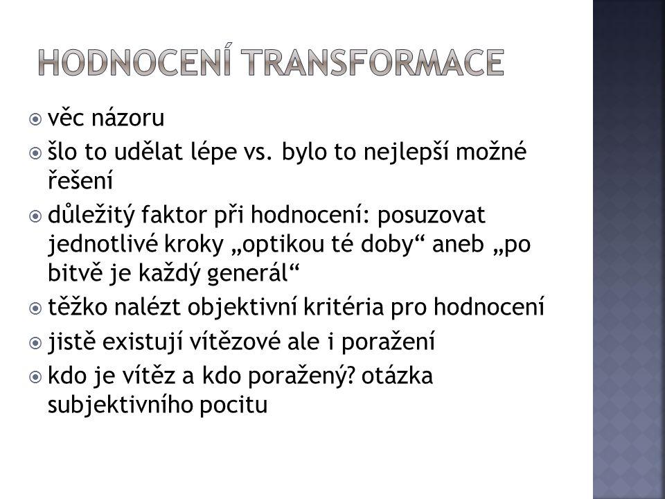 hodnocení transformace