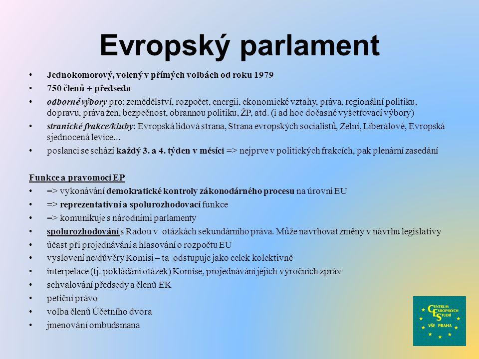 Evropský parlament Jednokomorový, volený v přímých volbách od roku 1979. 750 členů + předseda.