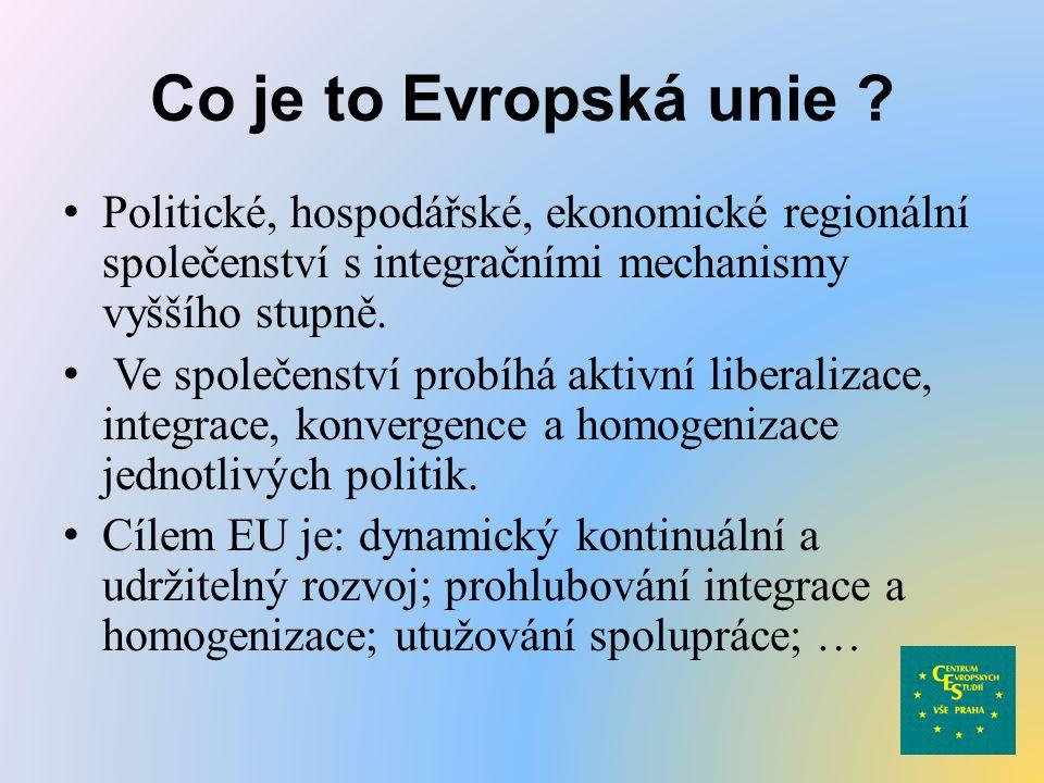Co je to Evropská unie Politické, hospodářské, ekonomické regionální společenství s integračními mechanismy vyššího stupně.