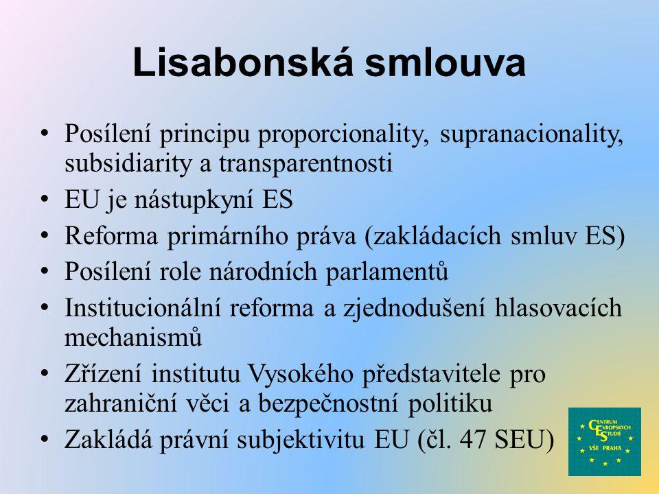 Lisabonská smlouva Posílení principu proporcionality, supranacionality, subsidiarity a transparentnosti.