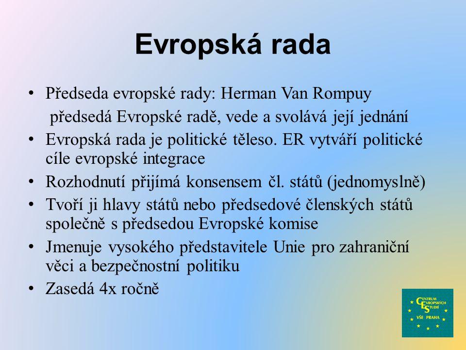 Evropská rada Předseda evropské rady: Herman Van Rompuy