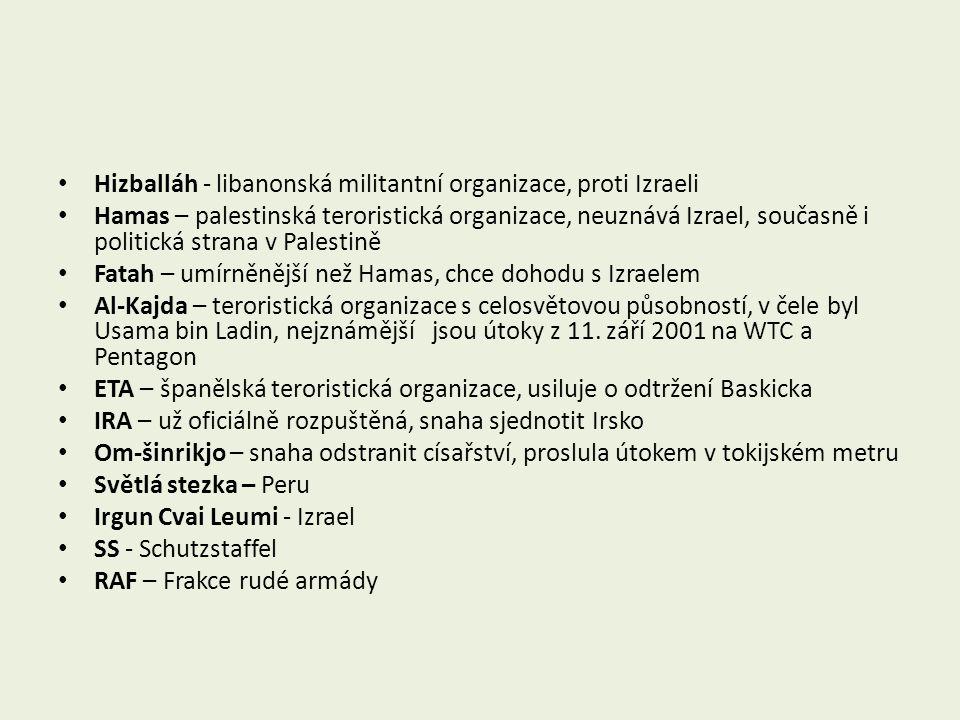 Hizballáh - libanonská militantní organizace, proti Izraeli