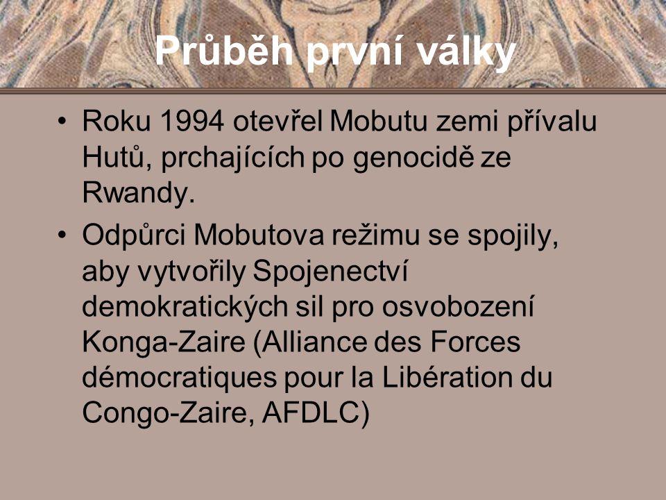 Průběh první války Roku 1994 otevřel Mobutu zemi přívalu Hutů, prchajících po genocidě ze Rwandy.