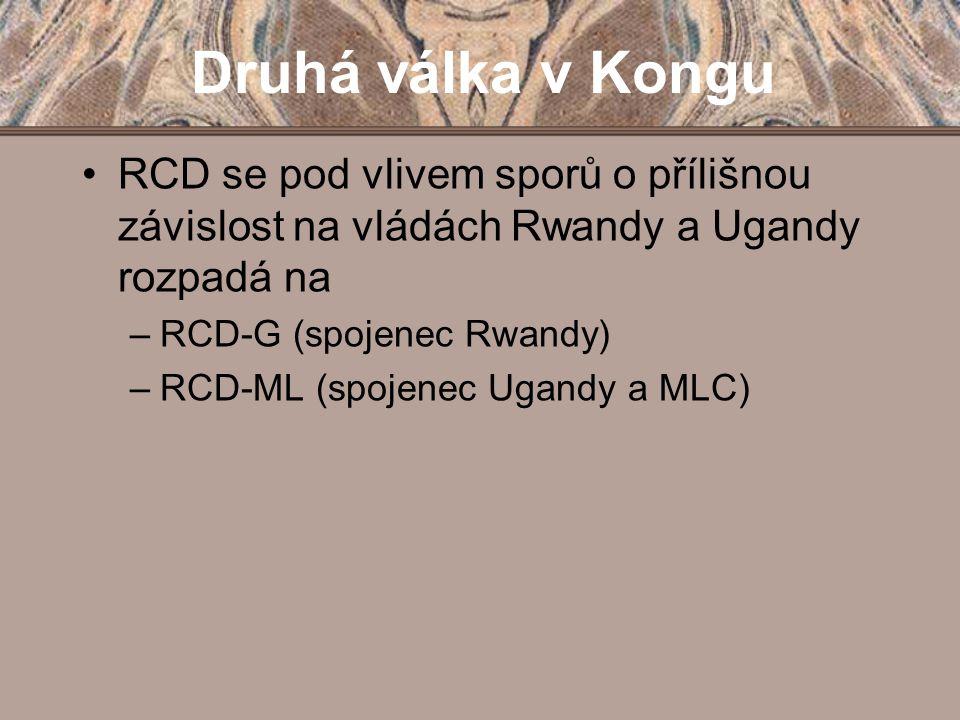 Druhá válka v Kongu RCD se pod vlivem sporů o přílišnou závislost na vládách Rwandy a Ugandy rozpadá na.