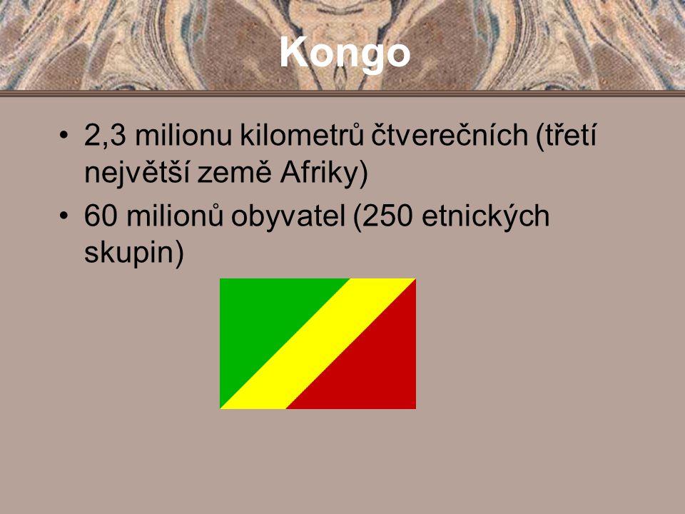 Kongo 2,3 milionu kilometrů čtverečních (třetí největší země Afriky)