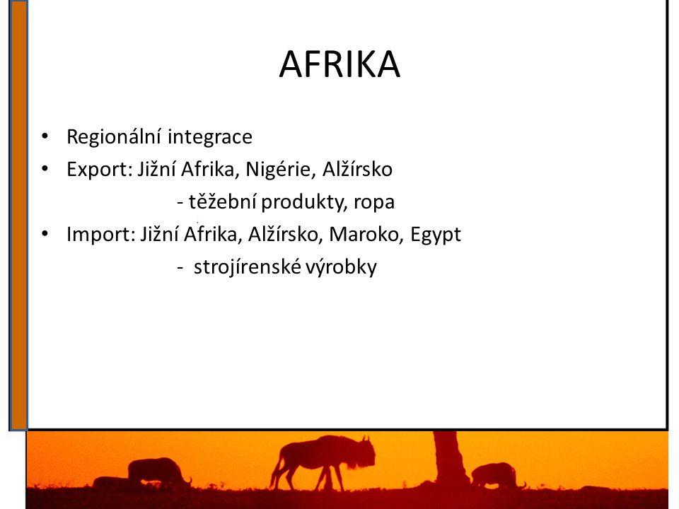 AFRIKA Regionální integrace Export: Jižní Afrika, Nigérie, Alžírsko