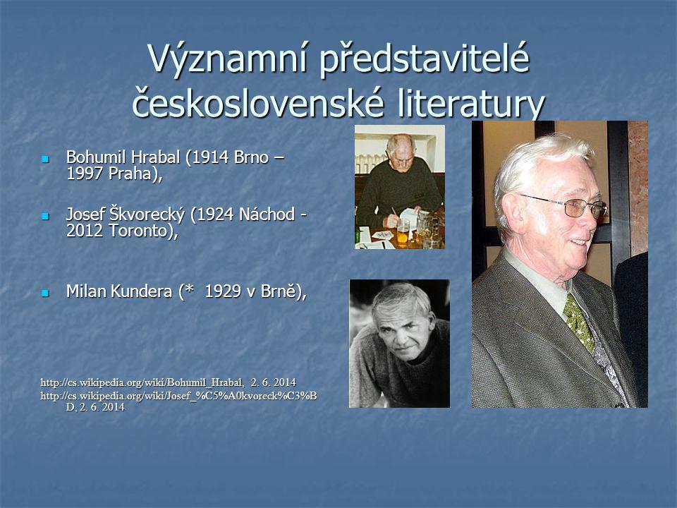 Významní představitelé československé literatury