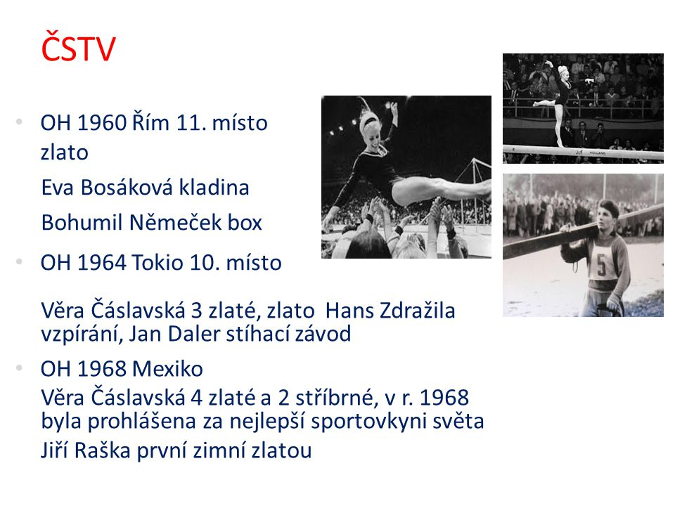 ČSTV OH 1960 Řím 11. místo zlato Eva Bosáková kladina