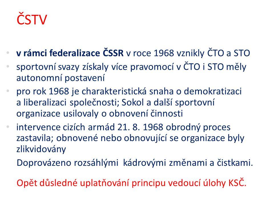 ČSTV v rámci federalizace ČSSR v roce 1968 vznikly ČTO a STO