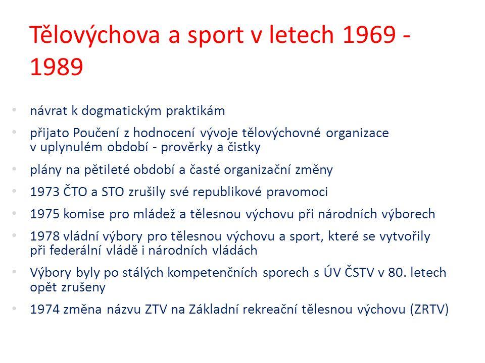 Tělovýchova a sport v letech 1969 - 1989