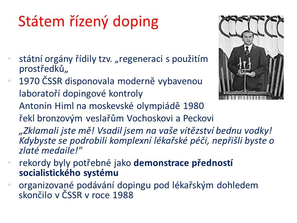 """Státem řízený doping státní orgány řídily tzv. """"regeneraci s použitím podpůrných prostředků"""""""