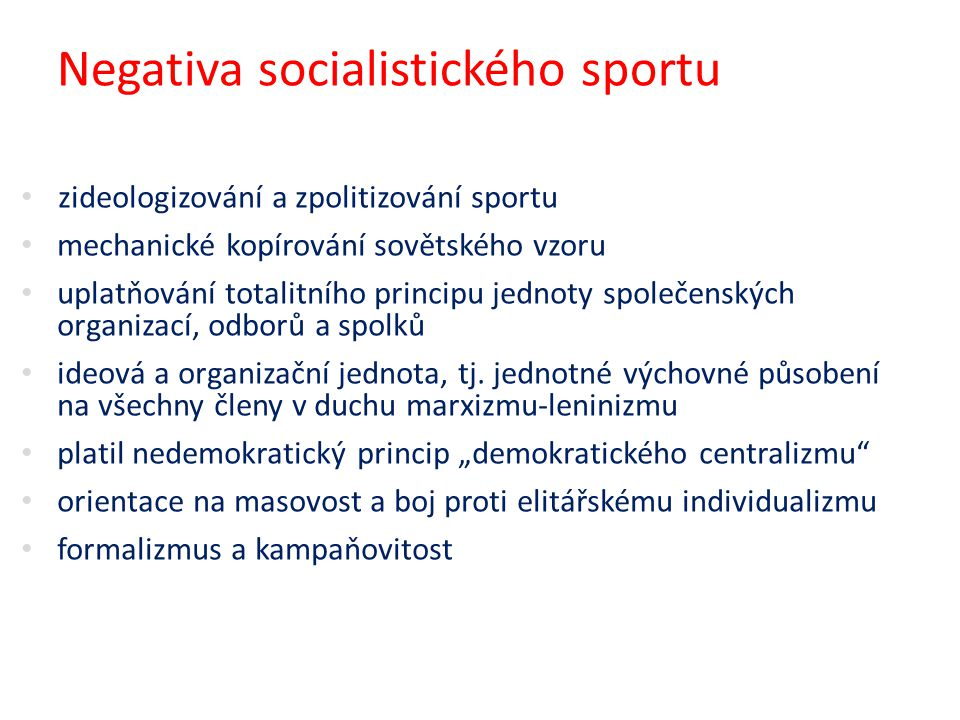 Negativa socialistického sportu