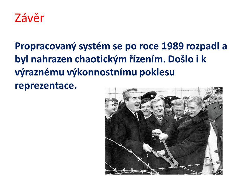 Závěr Propracovaný systém se po roce 1989 rozpadl a byl nahrazen chaotickým řízením.