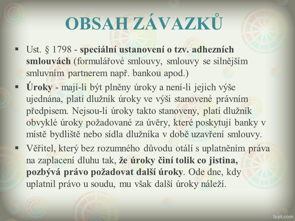 OBSAH ZÁVAZKŮ