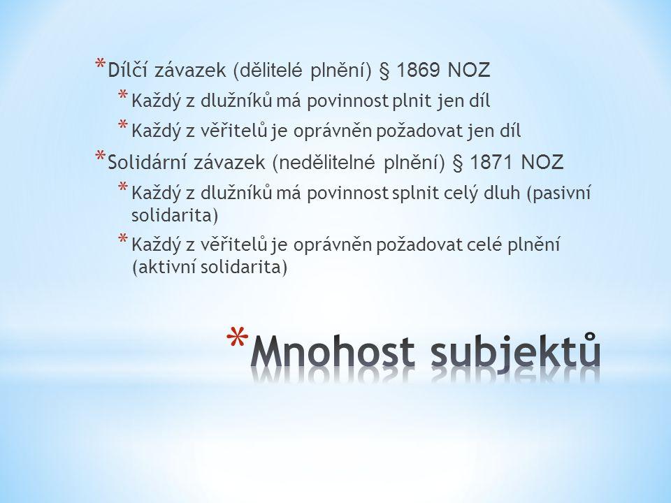Mnohost subjektů Dílčí závazek (dělitelé plnění) § 1869 NOZ