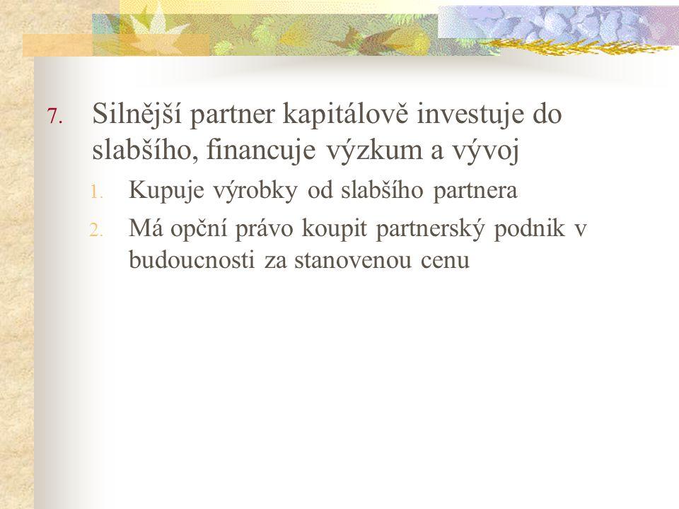 Silnější partner kapitálově investuje do slabšího, financuje výzkum a vývoj