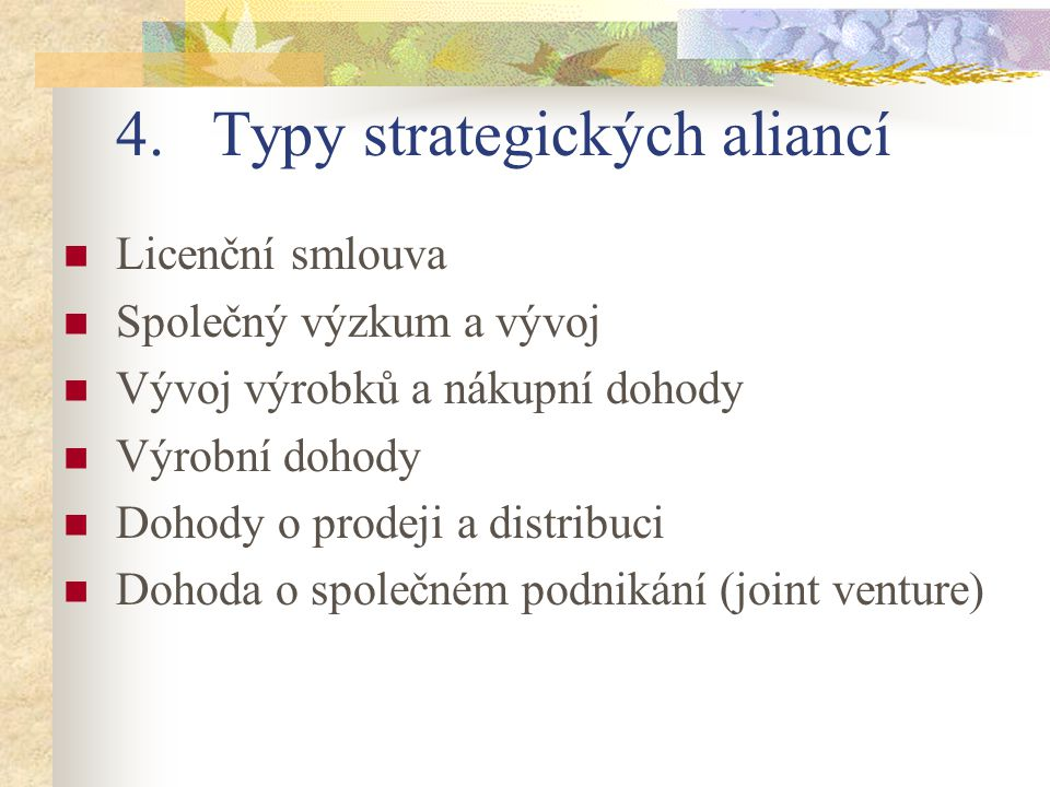 Typy strategických aliancí
