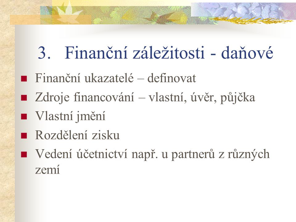 Finanční záležitosti - daňové