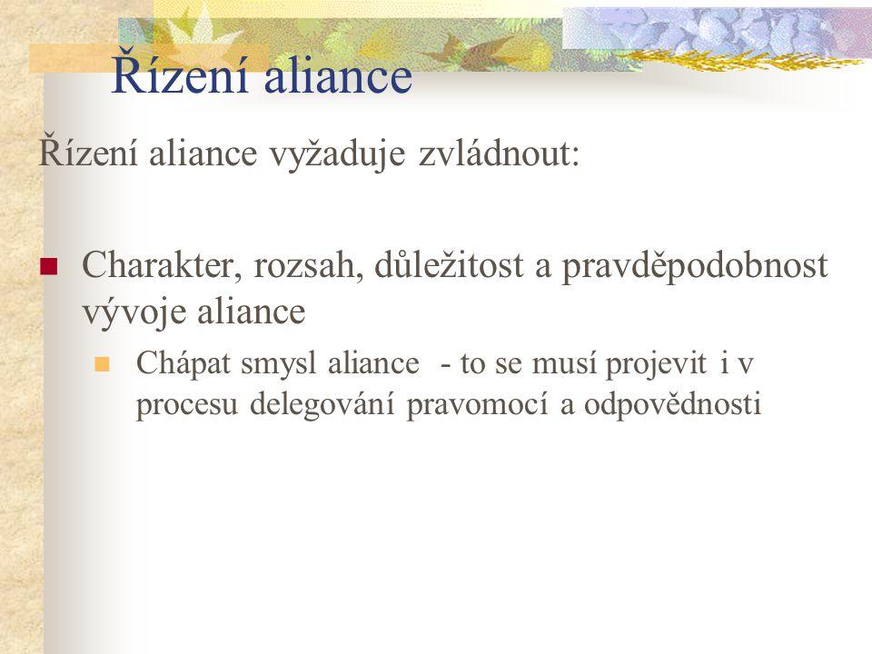 Řízení aliance Řízení aliance vyžaduje zvládnout: