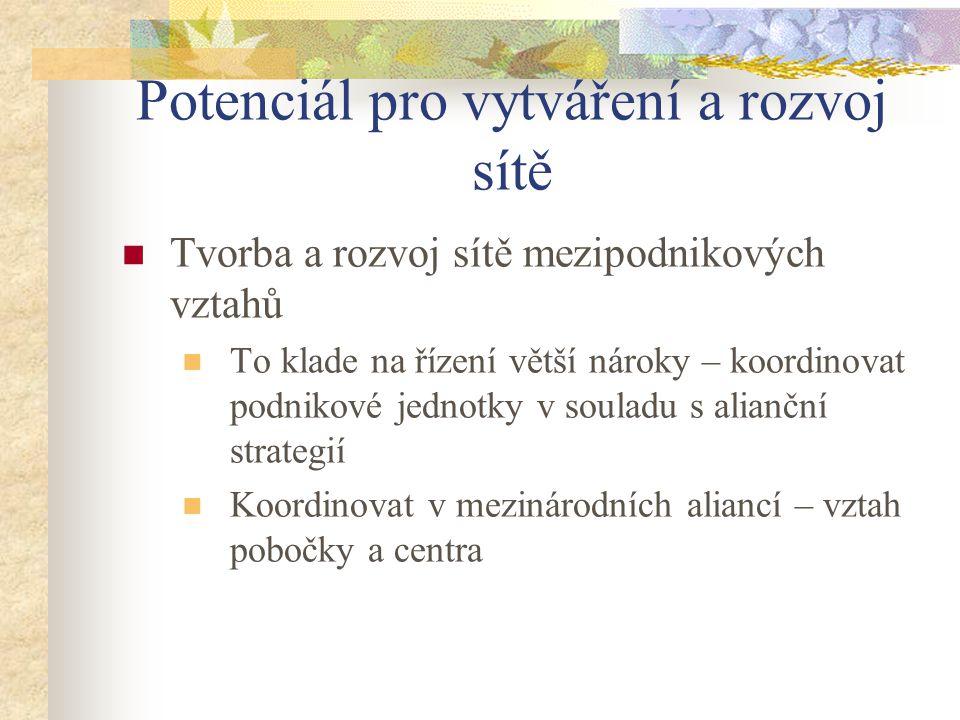 Potenciál pro vytváření a rozvoj sítě