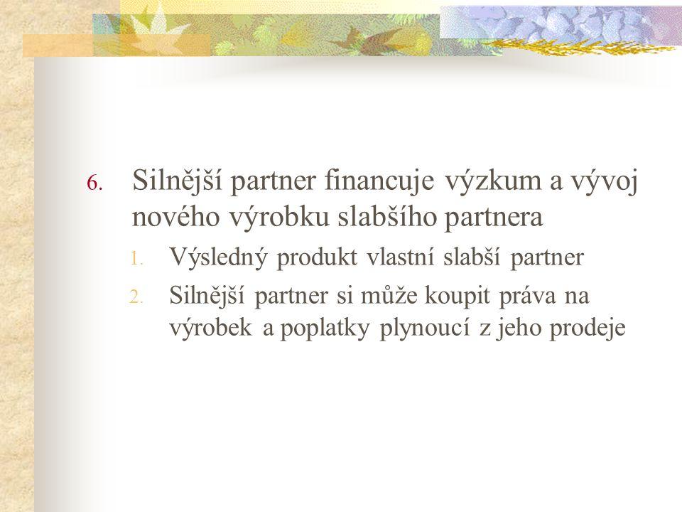 Silnější partner financuje výzkum a vývoj nového výrobku slabšího partnera