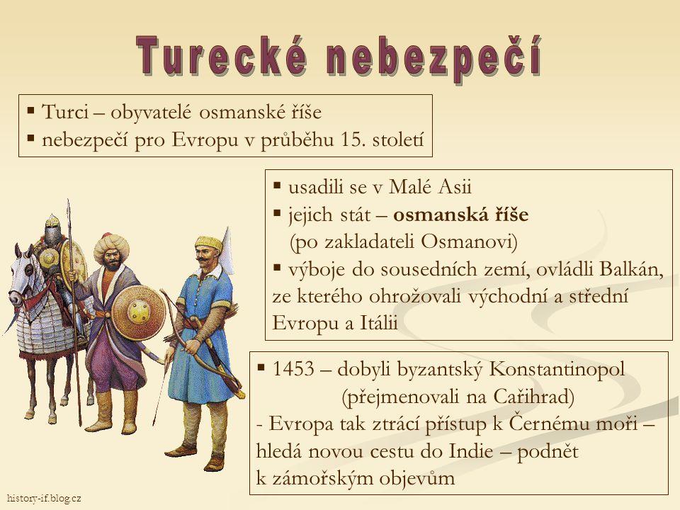 Turecké nebezpečí Turci – obyvatelé osmanské říše