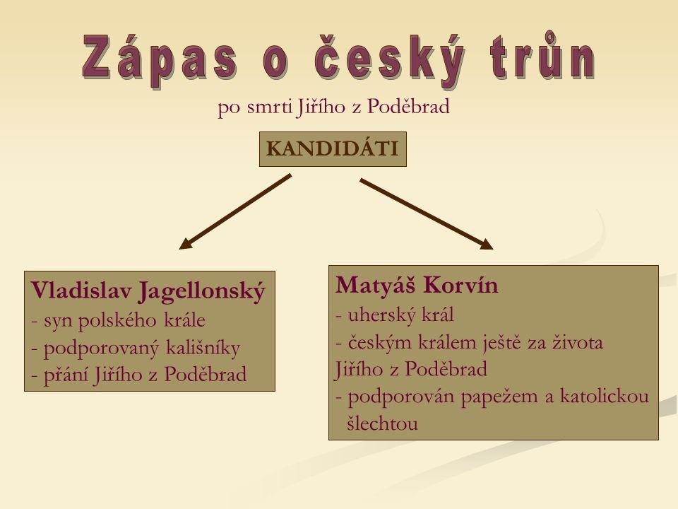 Zápas o český trůn Matyáš Korvín Vladislav Jagellonský