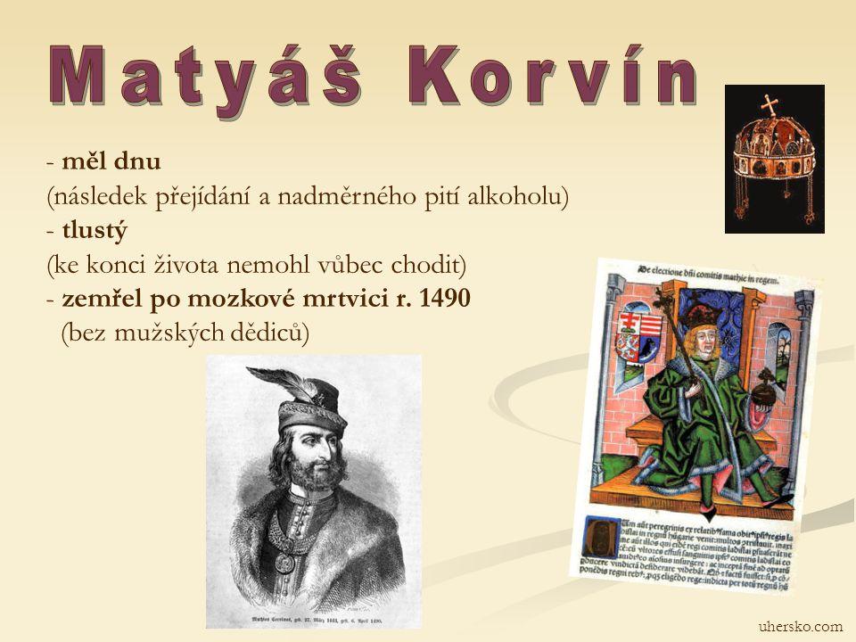 Matyáš Korvín měl dnu (následek přejídání a nadměrného pití alkoholu)