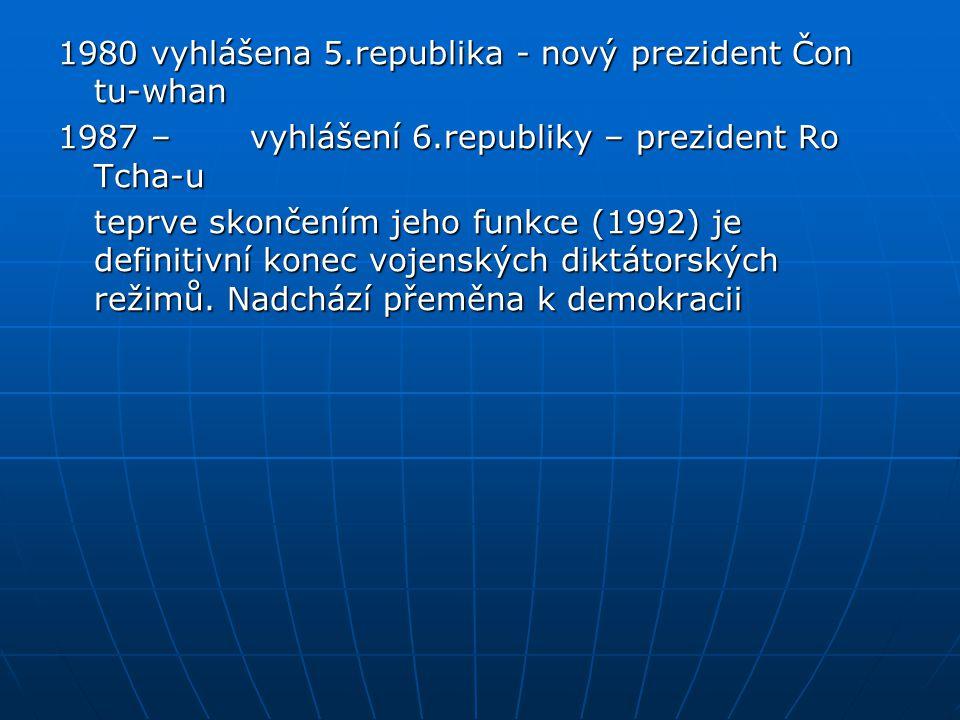 1980 vyhlášena 5.republika - nový prezident Čon tu-whan