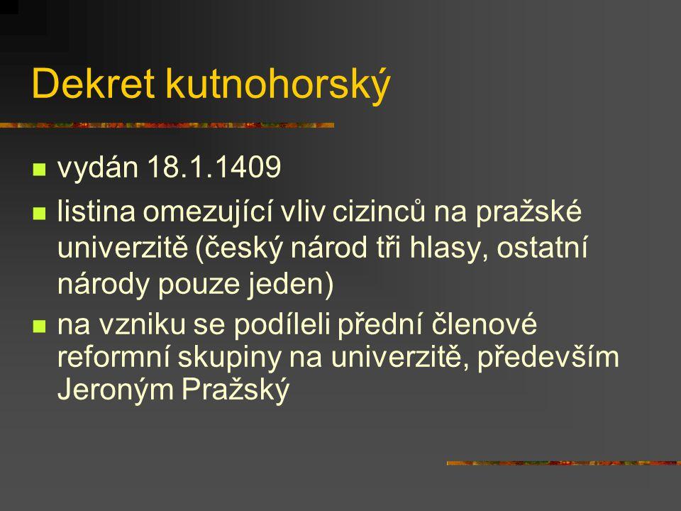 Dekret kutnohorský vydán 18.1.1409
