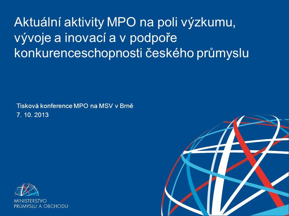 Tisková konference MPO na MSV v Brně 7. 10. 2013