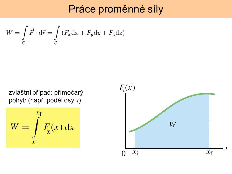 Práce proměnné síly x zvláštní případ: přímočarý pohyb (např. podél osy x) x