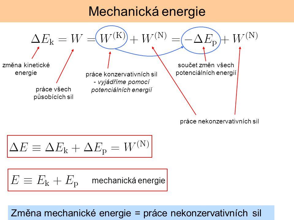 Mechanická energie změna kinetické energie. součet změn všech potenciálních energií.