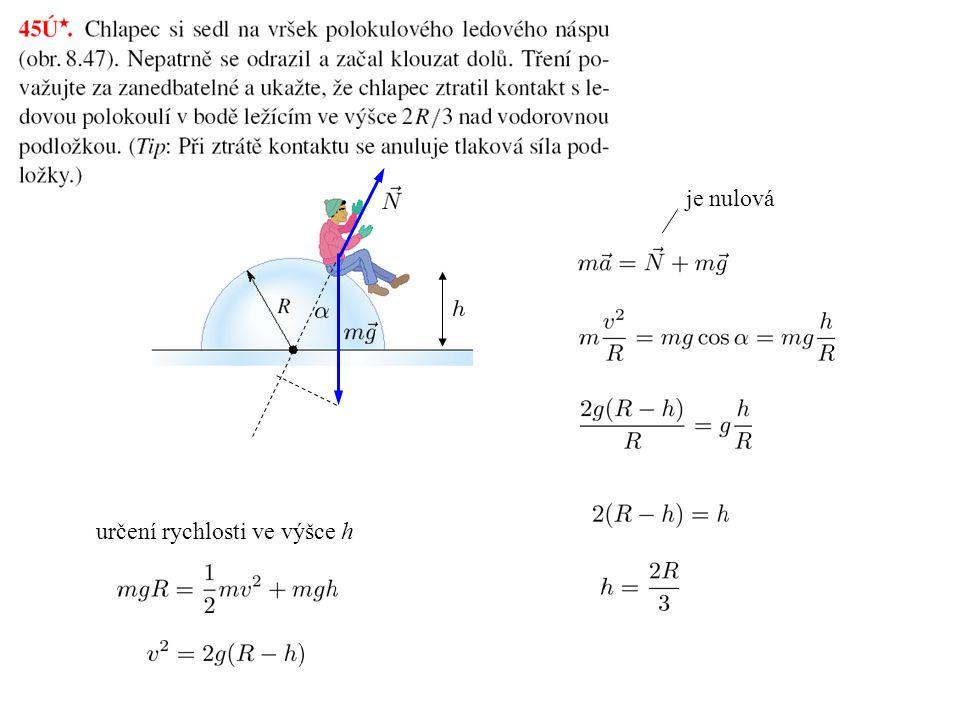 je nulová určení rychlosti ve výšce h