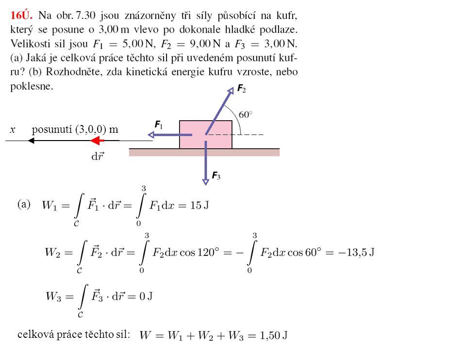 x posunutí (3,0,0) m (a) celková práce těchto sil: