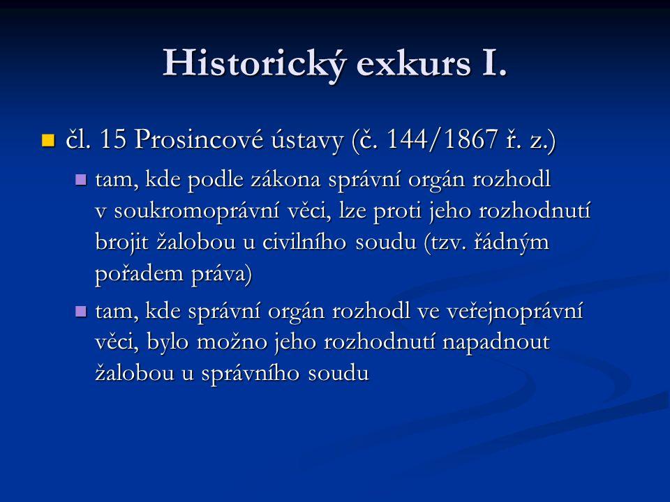 Historický exkurs I. čl. 15 Prosincové ústavy (č. 144/1867 ř. z.)