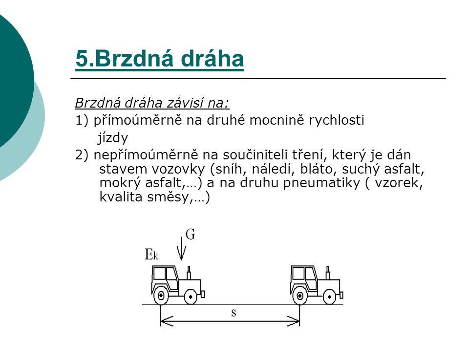 5.Brzdná dráha Brzdná dráha závisí na: