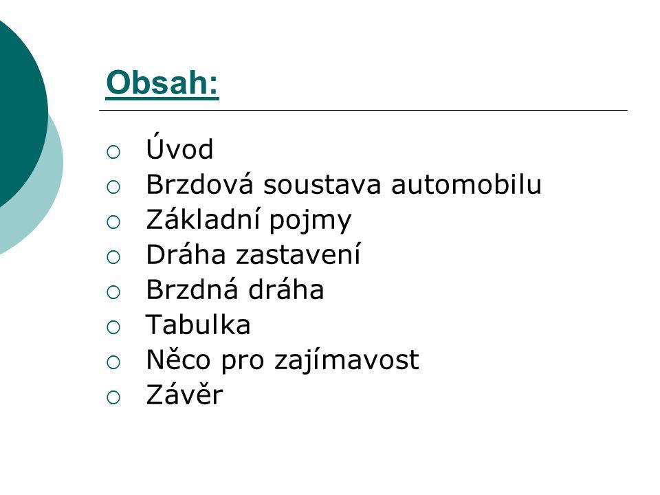 Obsah: Úvod Brzdová soustava automobilu Základní pojmy Dráha zastavení
