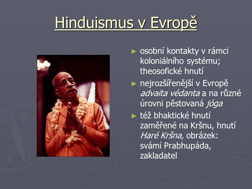 Hinduismus v Evropě osobní kontakty v rámci koloniálního systému; theosofické hnutí.