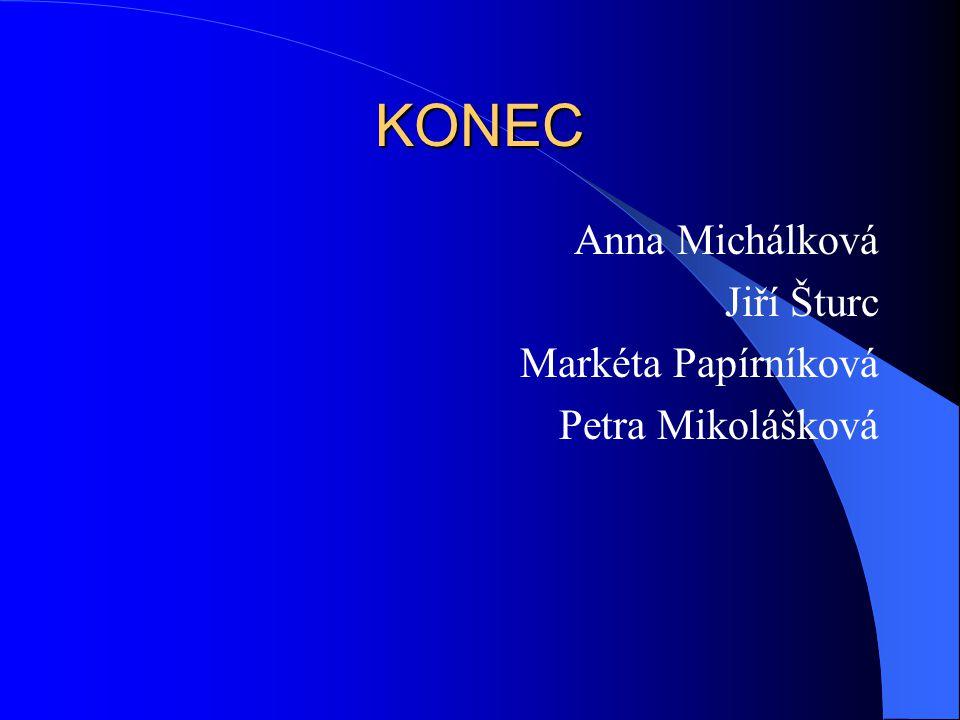 KONEC Anna Michálková Jiří Šturc Markéta Papírníková Petra Mikolášková