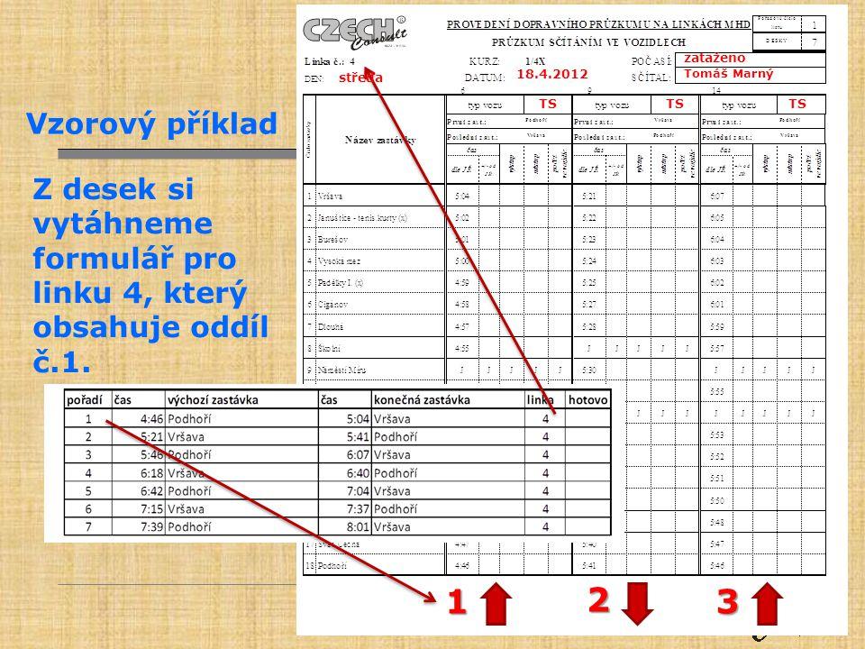 zataženo Tomáš Marný. 18.4.2012. středa. TS. Vzorový příklad. Z desek si vytáhneme formulář pro linku 4, který obsahuje oddíl č.1.