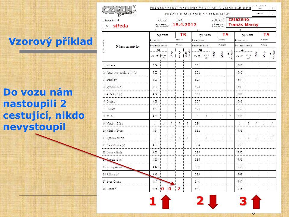 zataženo Tomáš Marný. 18.4.2012. středa. TS. Vzorový příklad. Do vozu nám nastoupili 2 cestující, nikdo nevystoupil.