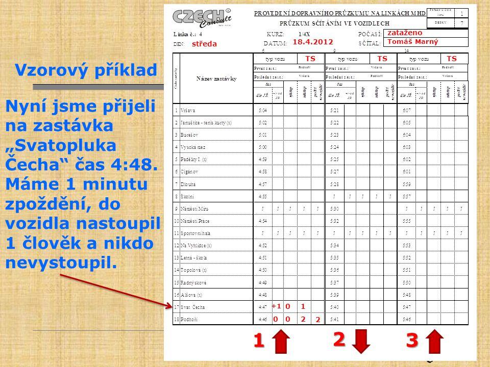 """zataženo Tomáš Marný. 18.4.2012. středa. TS. Nyní jsme přijeli na zastávka """"Svatopluka Čecha čas 4:48."""