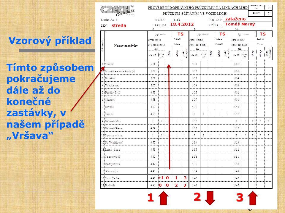 """zataženo Tomáš Marný. 18.4.2012. středa. TS. Vzorový příklad. Tímto způsobem pokračujeme dále až do konečné zastávky, v našem případě """"Vršava"""