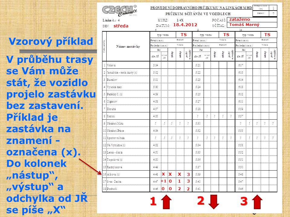 zataženo Tomáš Marný. 18.4.2012. středa. TS. Vzorový příklad. V průběhu trasy se Vám může stát, že vozidlo projelo zastávku bez zastavení.