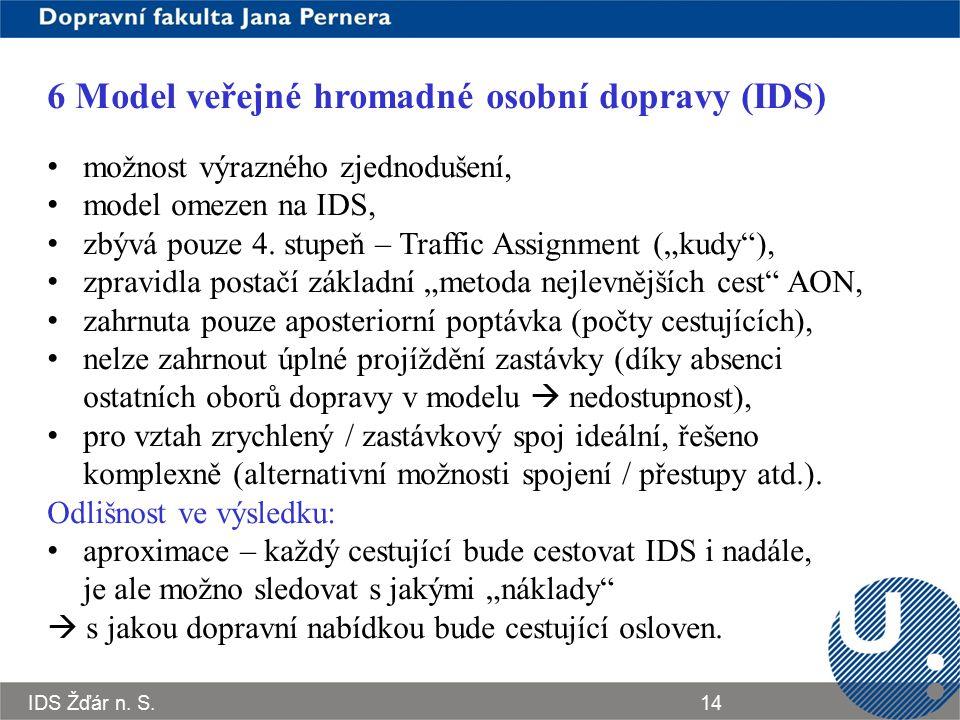 6 Model veřejné hromadné osobní dopravy (IDS)