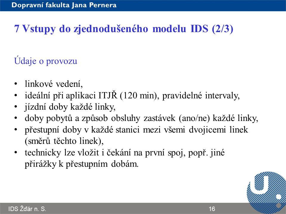 7 Vstupy do zjednodušeného modelu IDS (2/3)