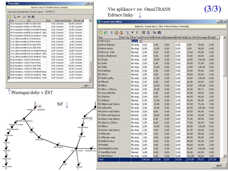 (3/3) Vše aplikace v sw. OmniTRANS Editace linky Přestupní doby v ŽST
